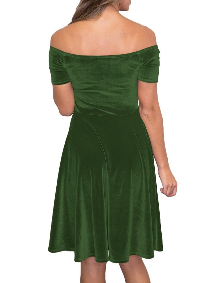 Green Velvet Off Shoulder Pleated Skater Dress