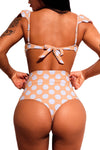 White Polka Dot Versatile Bandeau Bikini High Waist Swimsuit
