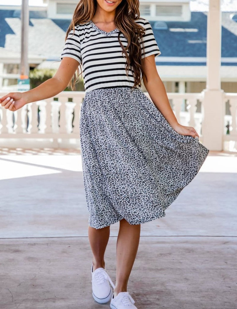 Striped Gray Cheetah Print Swing Dress