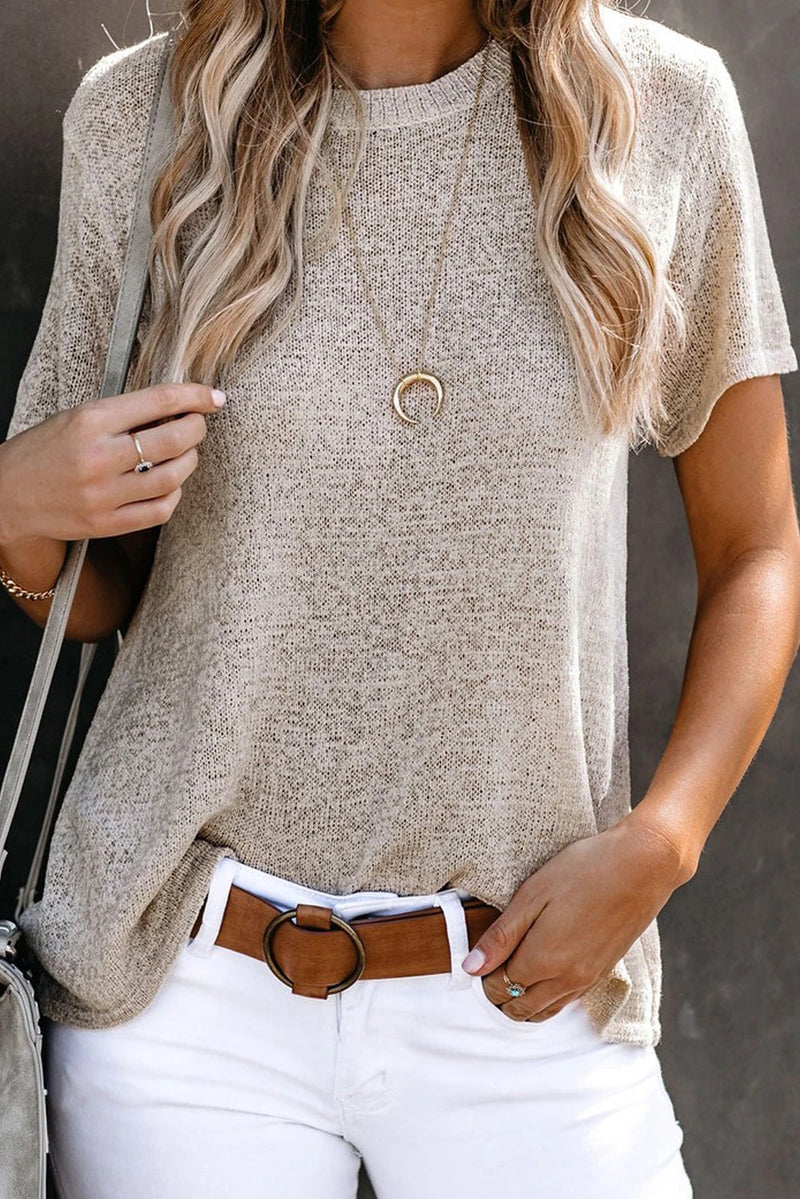 Apricot Short Sleeve Knit Top