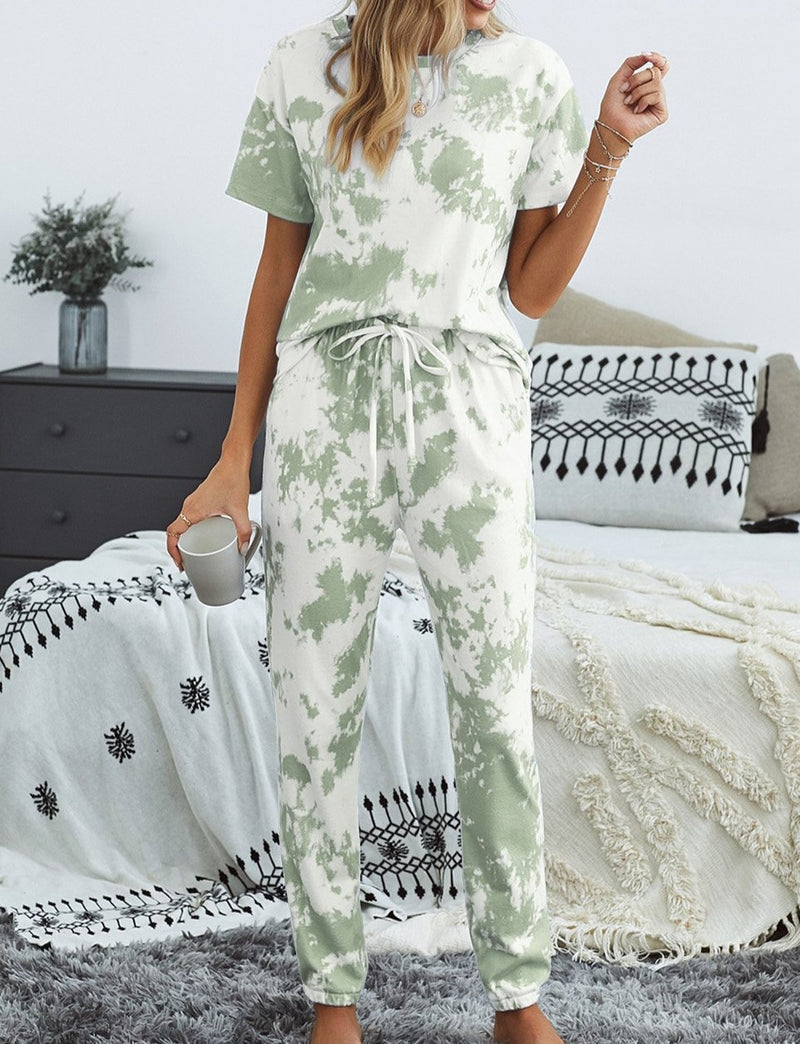 Green Tie-dye T-shirt Pants PJ Set
