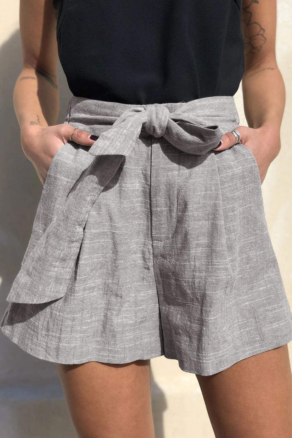 Gray Tie Waist Casual Linen Shorts with Pockets