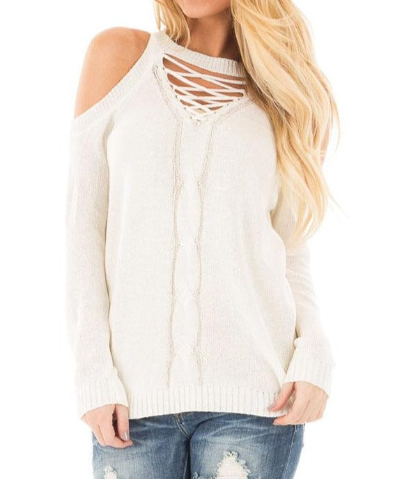 White Cold Shoulder Lace up Detail Knit Sweater Top