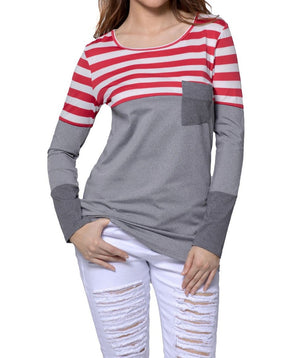 Red White Stripes Color Block Long Sleeve Blouse Top