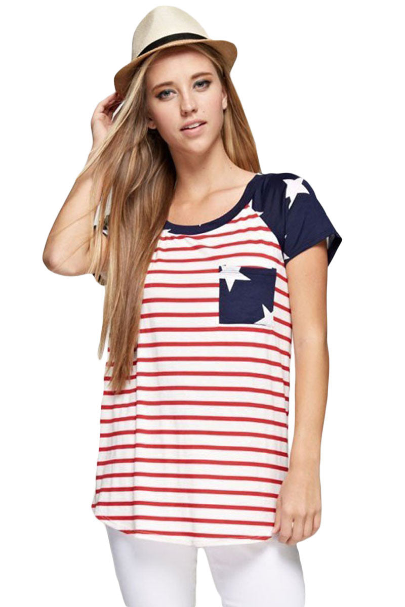 Star Short Sleeves Red Navy American Flag T-shirt