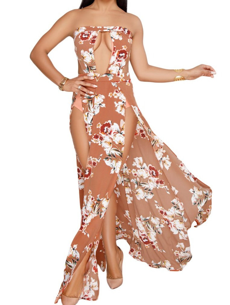 Orange Floral Print Slit Legs Strapless Jumpsuit