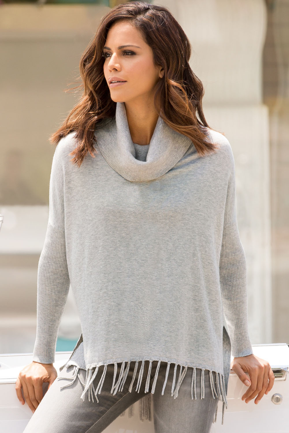 Gray Turtleneck Fringe Hemline Tunic Sweater