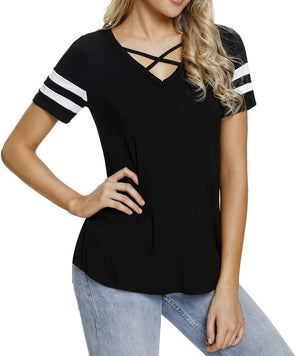 Varsity Striped Short Sleeve Black V Neck T-shirt