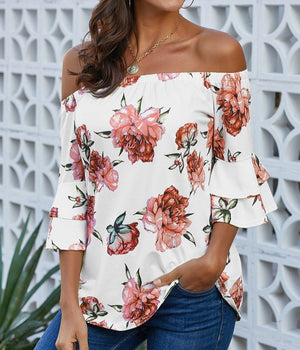 White Bring on The Floral Off The Shoulder Top