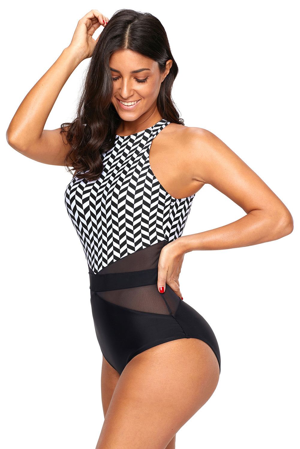 Black White Marble Bodice Cut out Back Monokini