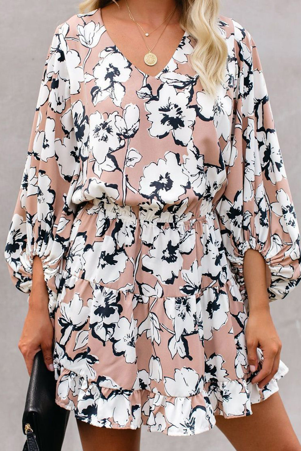 Apricot V Neck Lantern Sleeves Floral Tunic Dress