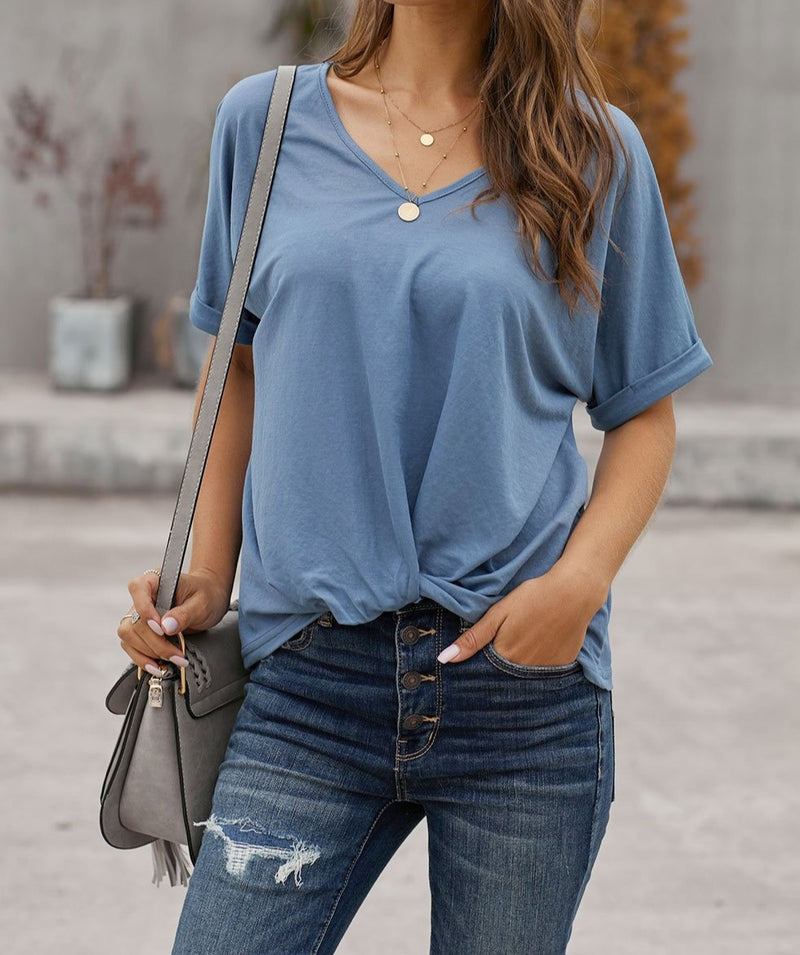 Blue Plain Short Sleeve Twist Tee
