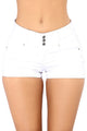 White Mid Rise Triple Button Stretch Denim Shorts
