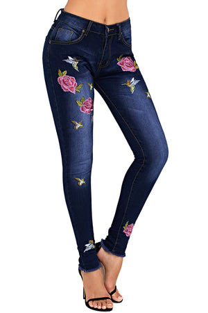 Rose Embroidered Frayed Ankle Length Skinny Jeans