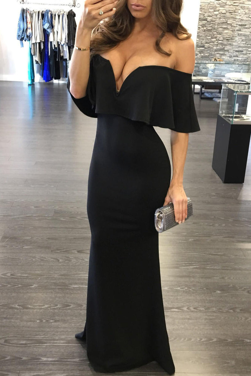 Black Ruffle Off Shoulder Maxi Party Dress