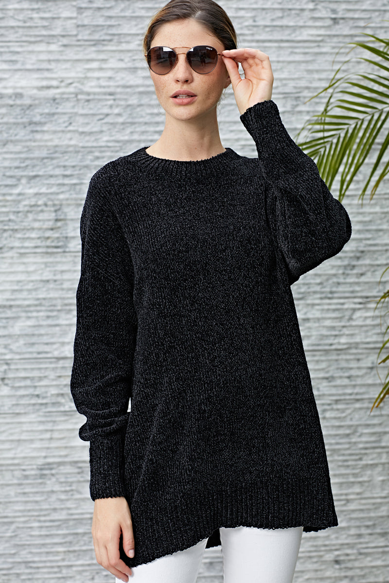 Black Cozy Scoop Neck Velvet Sweater