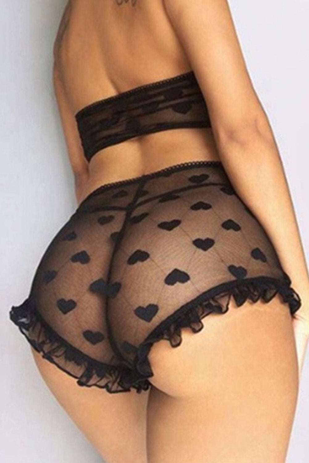 Black Lace Mesh Print Tube See Through Sleeveless Lingerie Set
