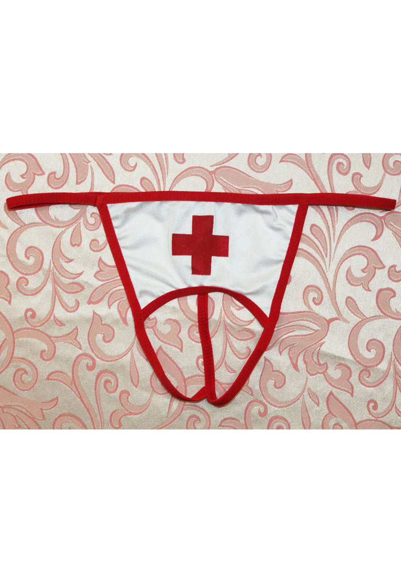 Sexy Wicked Open Crotch Nurse G-string