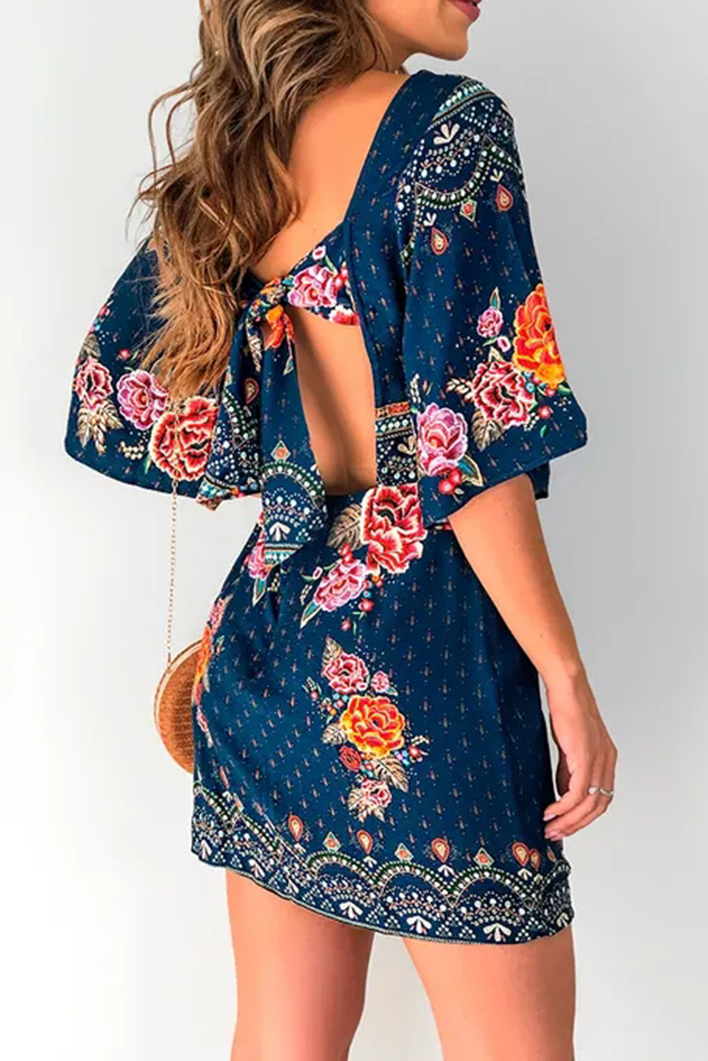 Blue 3/4 Sleeve Butterfly Floral Short Dress