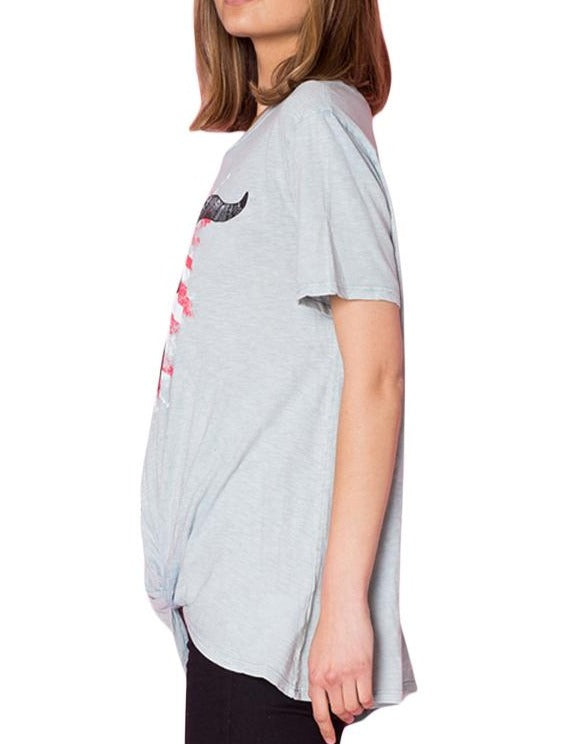 Gray American Bull Head Front Knot Graphic Top