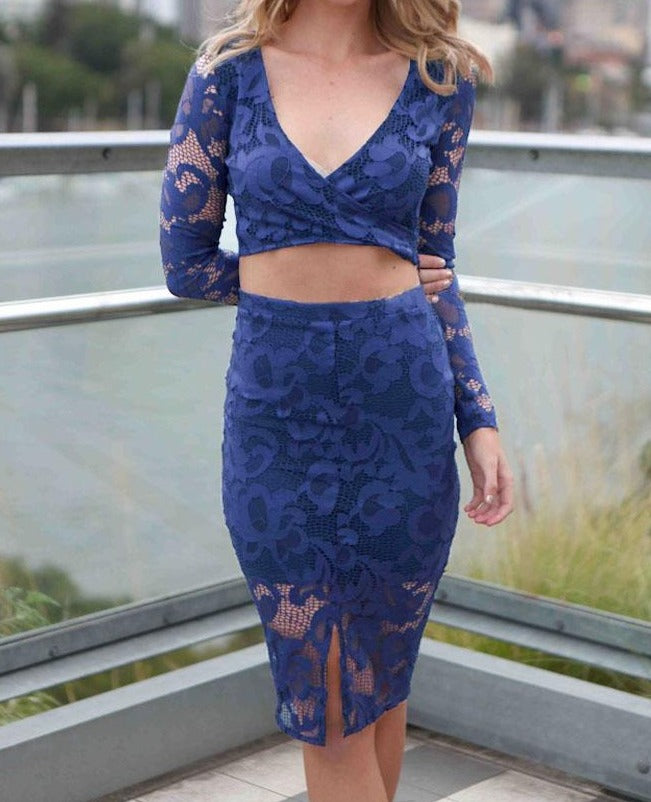 2pcs Blue Flower Lace Long Sleeves Skirt Set