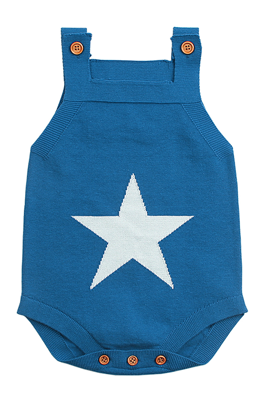 Blue Star Pattern Knitted Infant Romper Baby Wear