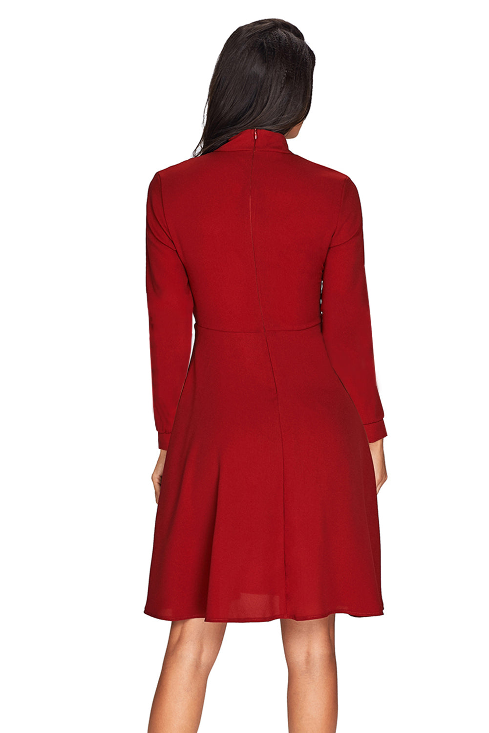 Patchwork Tie Neck Long Sleeve Burgundy Flared Dress