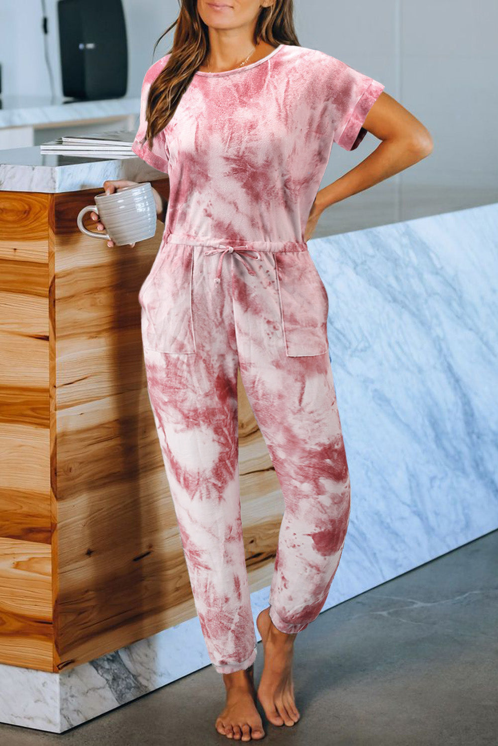 Red Pocketed Tie-dye Knit Jumpsuit