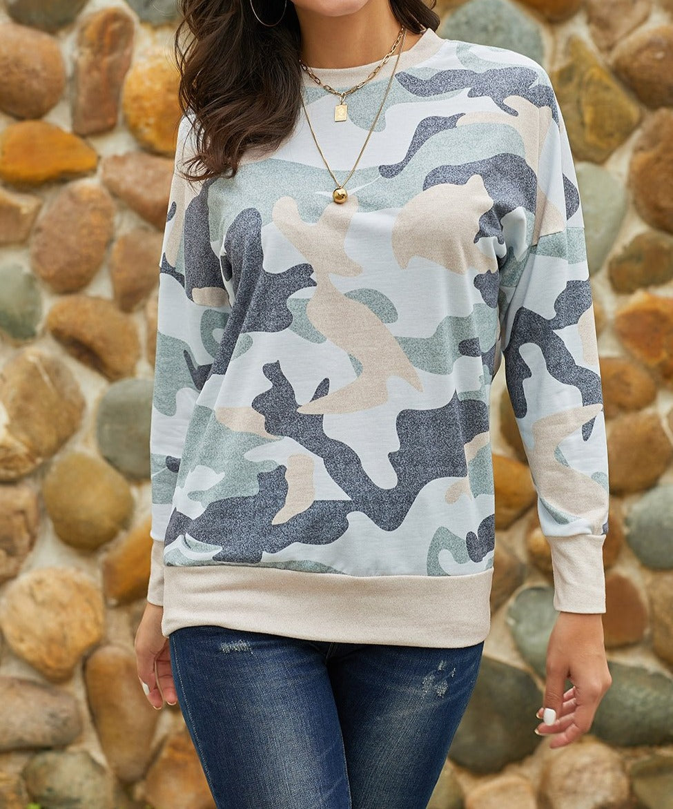 Khaki Green Digital Camo Print Sweatshirt