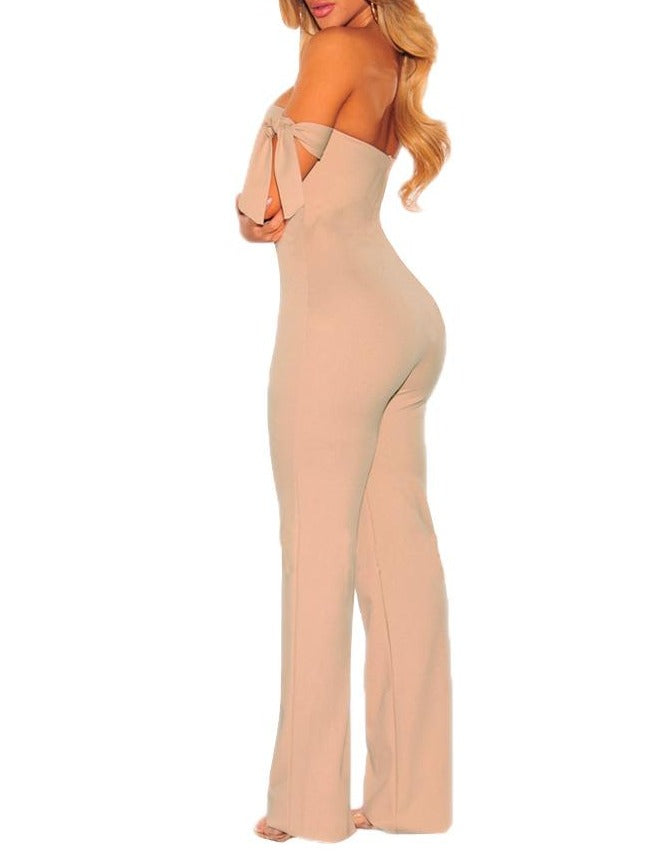 Apricot Off Shoulder Tie Knot Strapless Jumpsuit