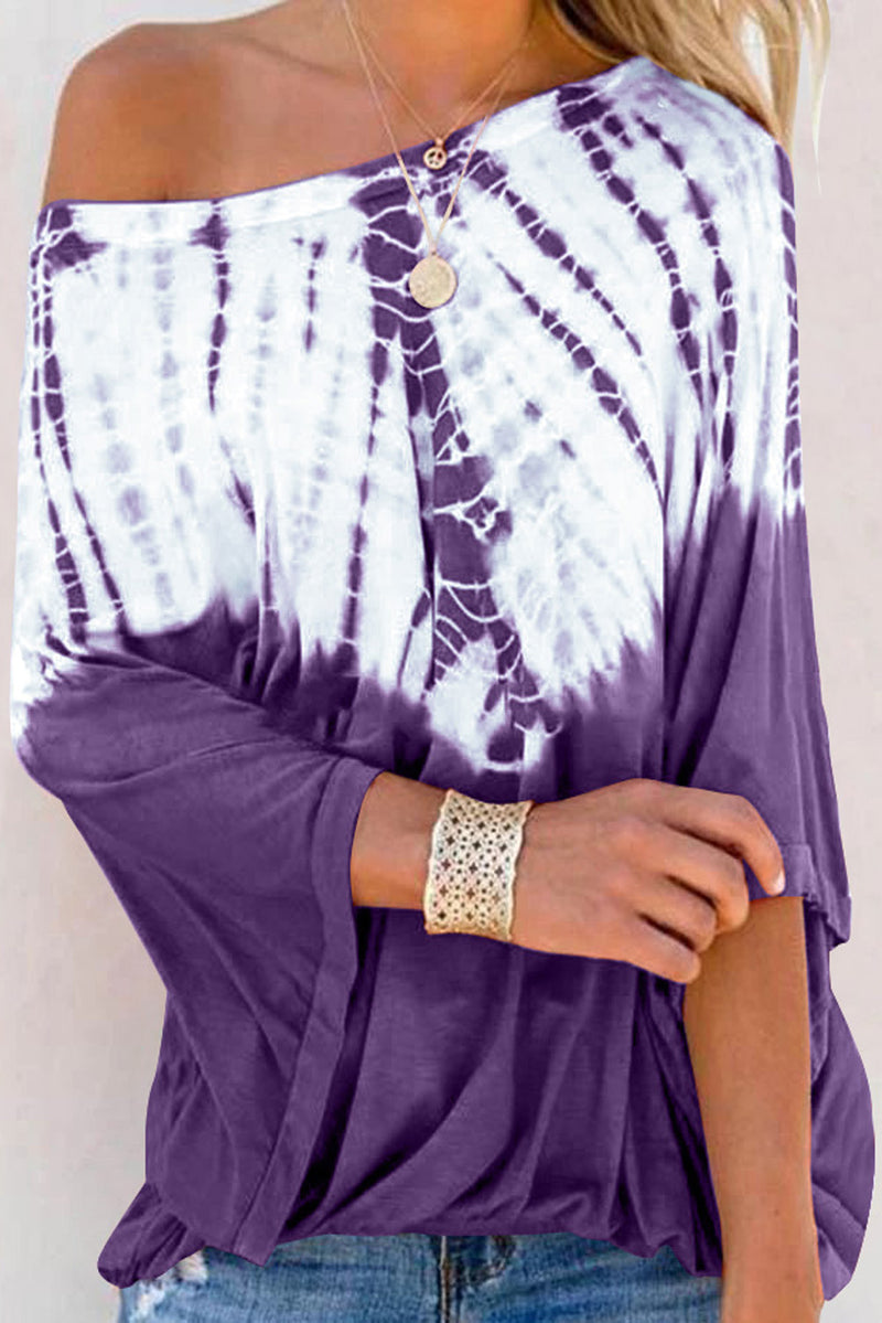 Purple Fashion Casual Tie Dye Print Blouse