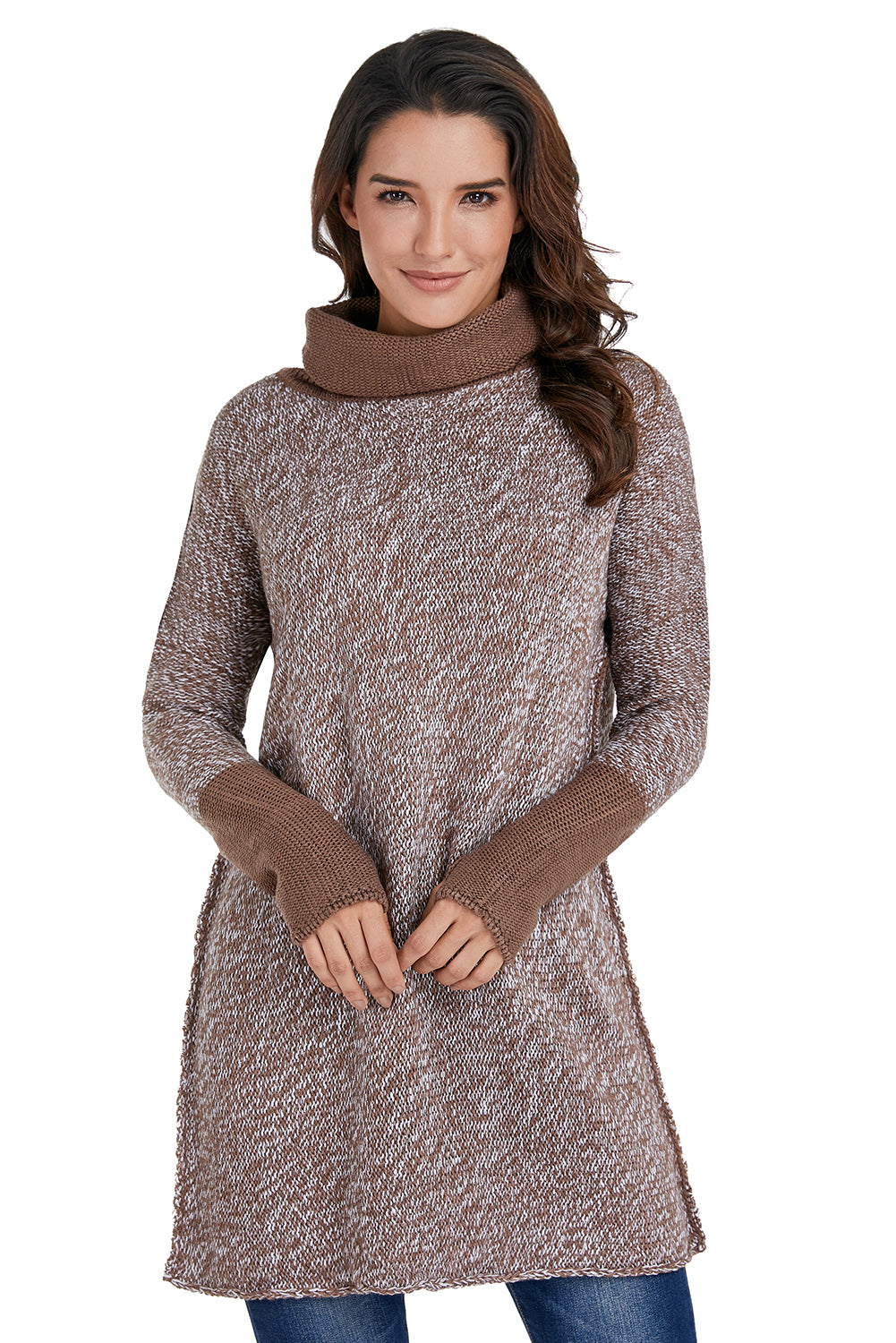 Brown High Collar Long Sleeve Knitted Stitching Sweater