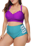 Plus Size Purple & Blue Scalloped Detail High Waist Swimsuit