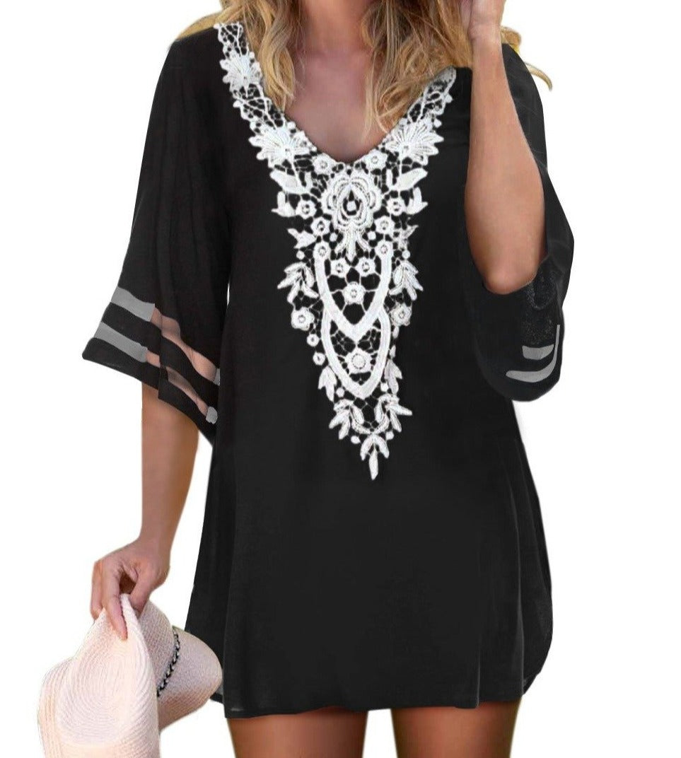 Black Crochet Detail Mesh Sleeve Chiffon Beach Cover Up