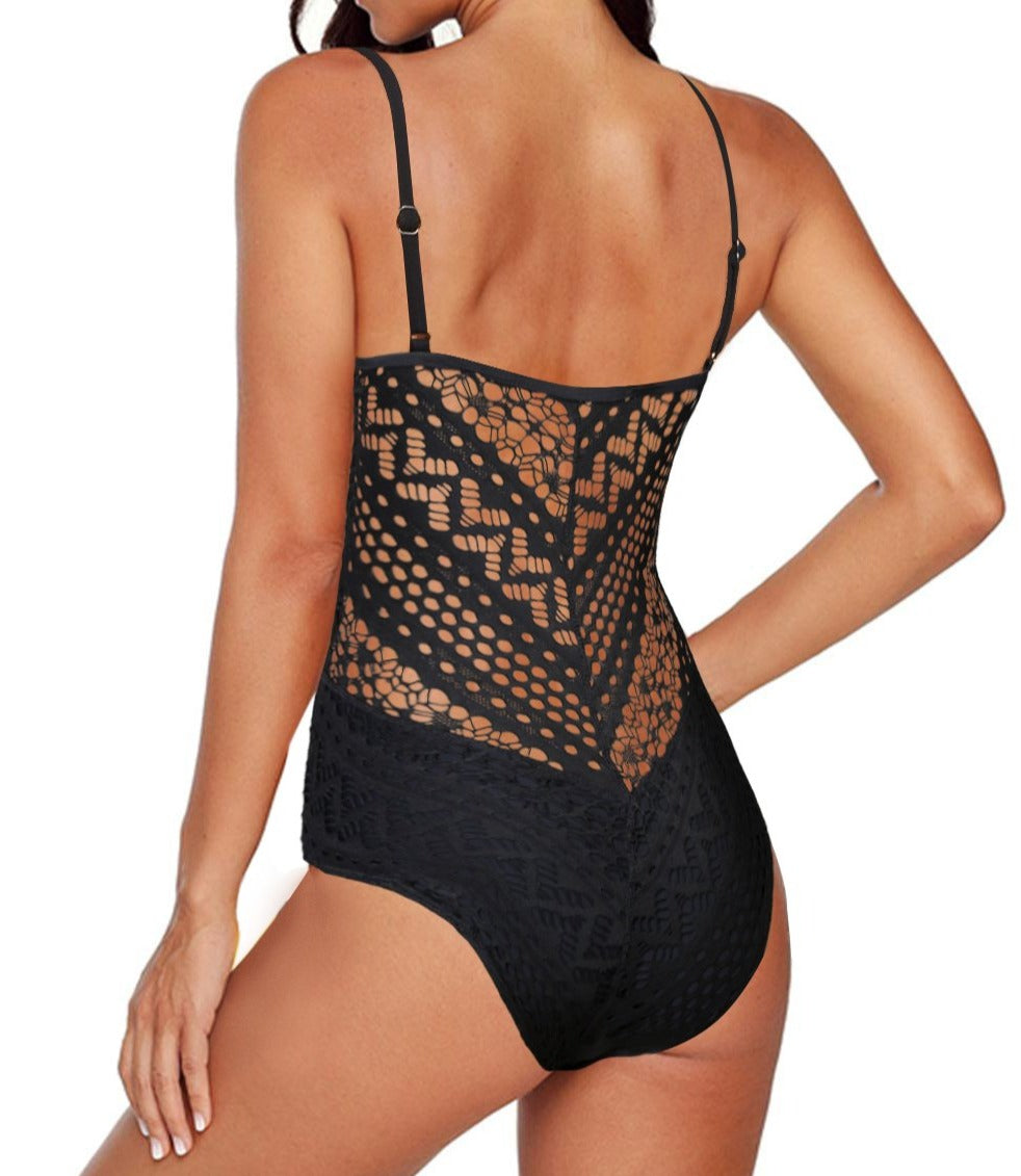 Black Crochet Lace Halter Straps One-piece Swimsuit