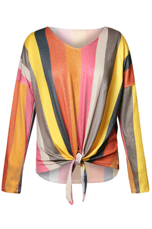 Yellowish Multi Striped Tie Front Long Sleeve Top