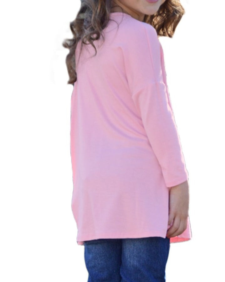 Pink Long Sleeve Crisscross Top for Girls