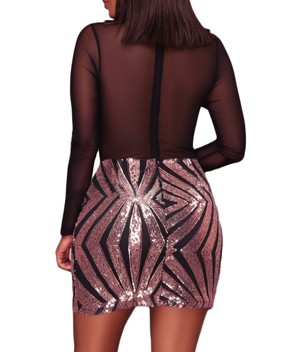 Black Sheer Mesh Long Sleeve Champagne Club Dress