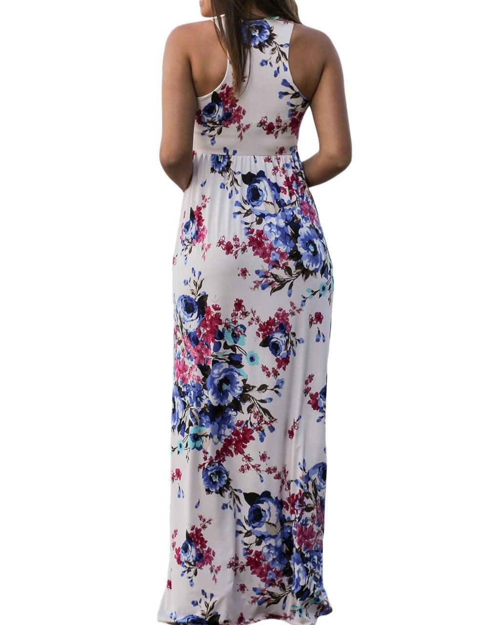 White Floral Print Sleeveless Long Boho Dress