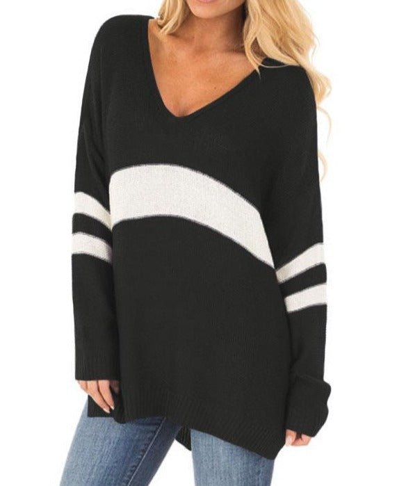 White Strip Black V Neck Sweater