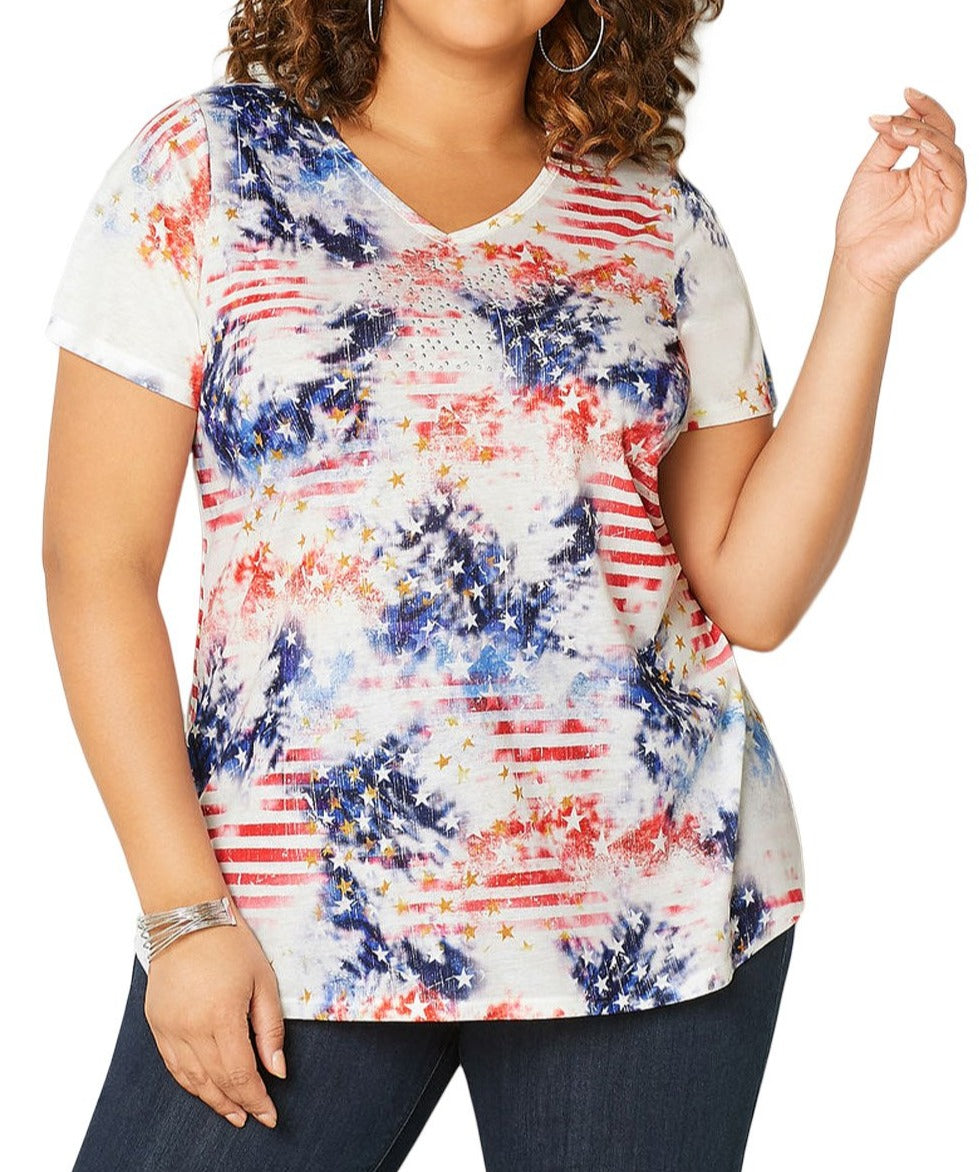 Blue American Dream Tie Dye Plus Size Tee
