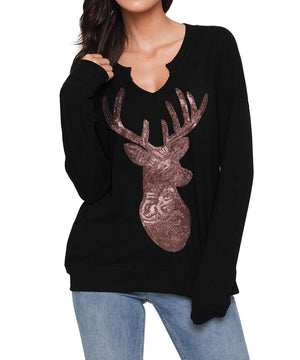 Black Women's Sequin Christmas Reindeer Top