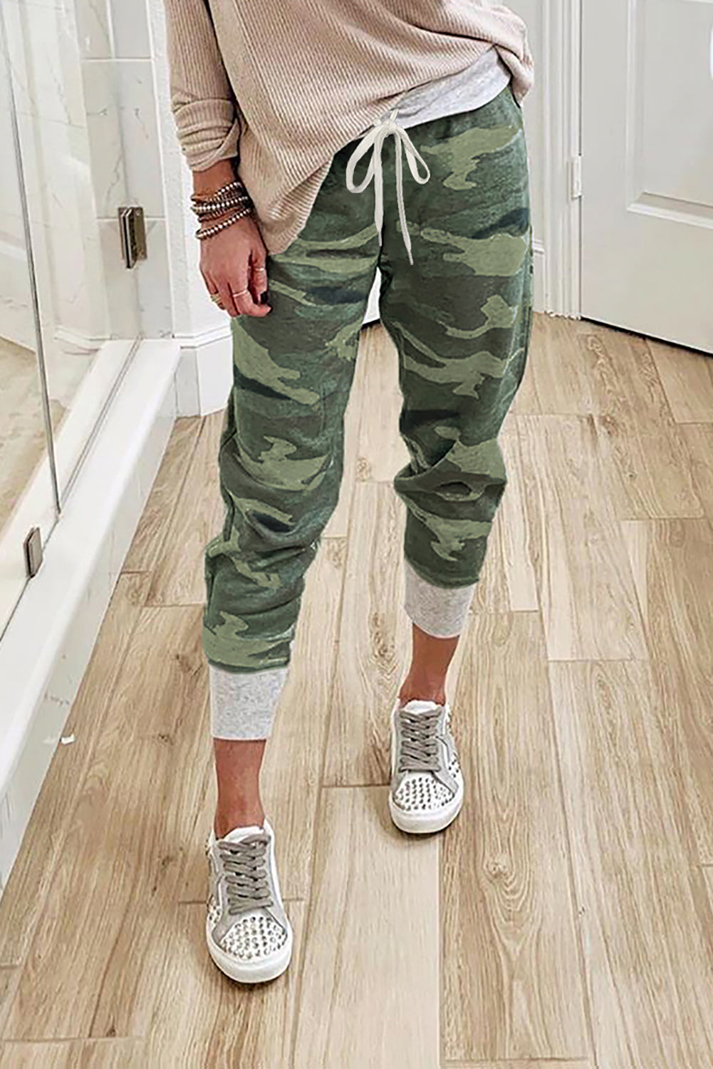 Green Camo Print Knit Sport Pants