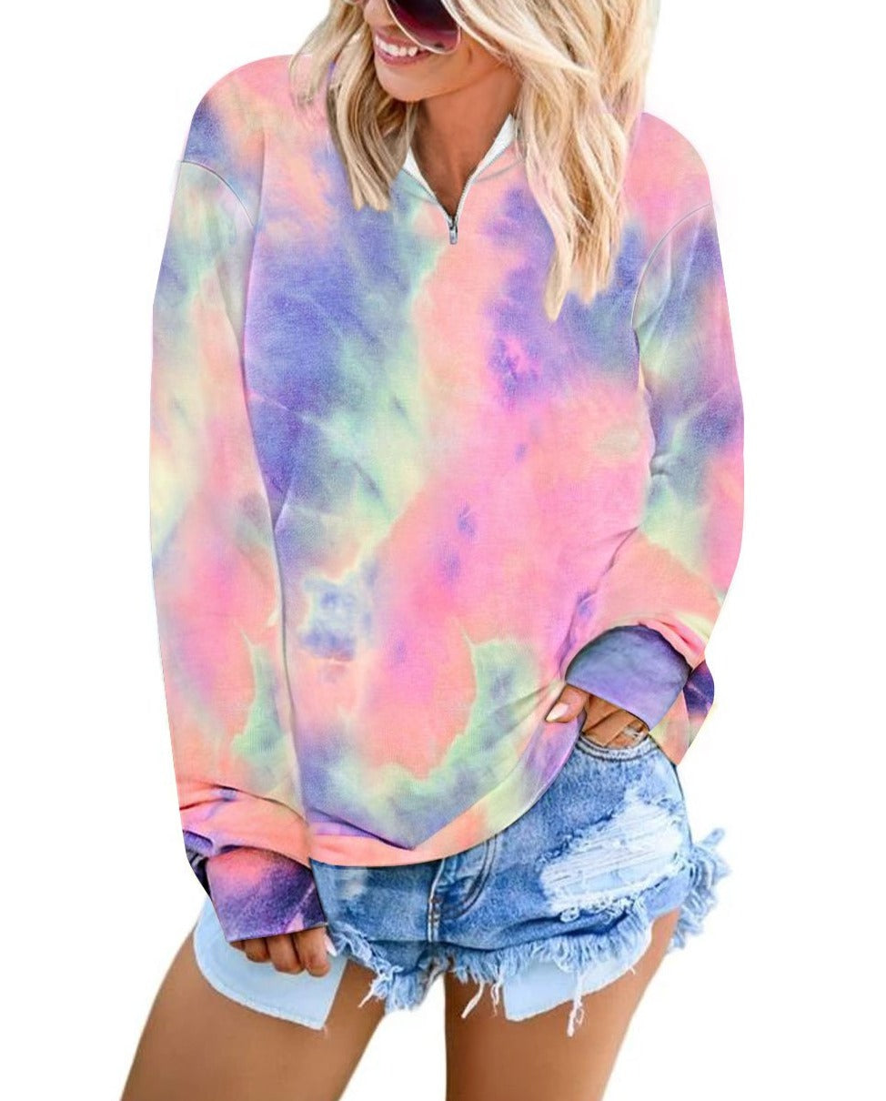 Pink Cotton Tie-dye Mock Neck Zip Sweatshirt