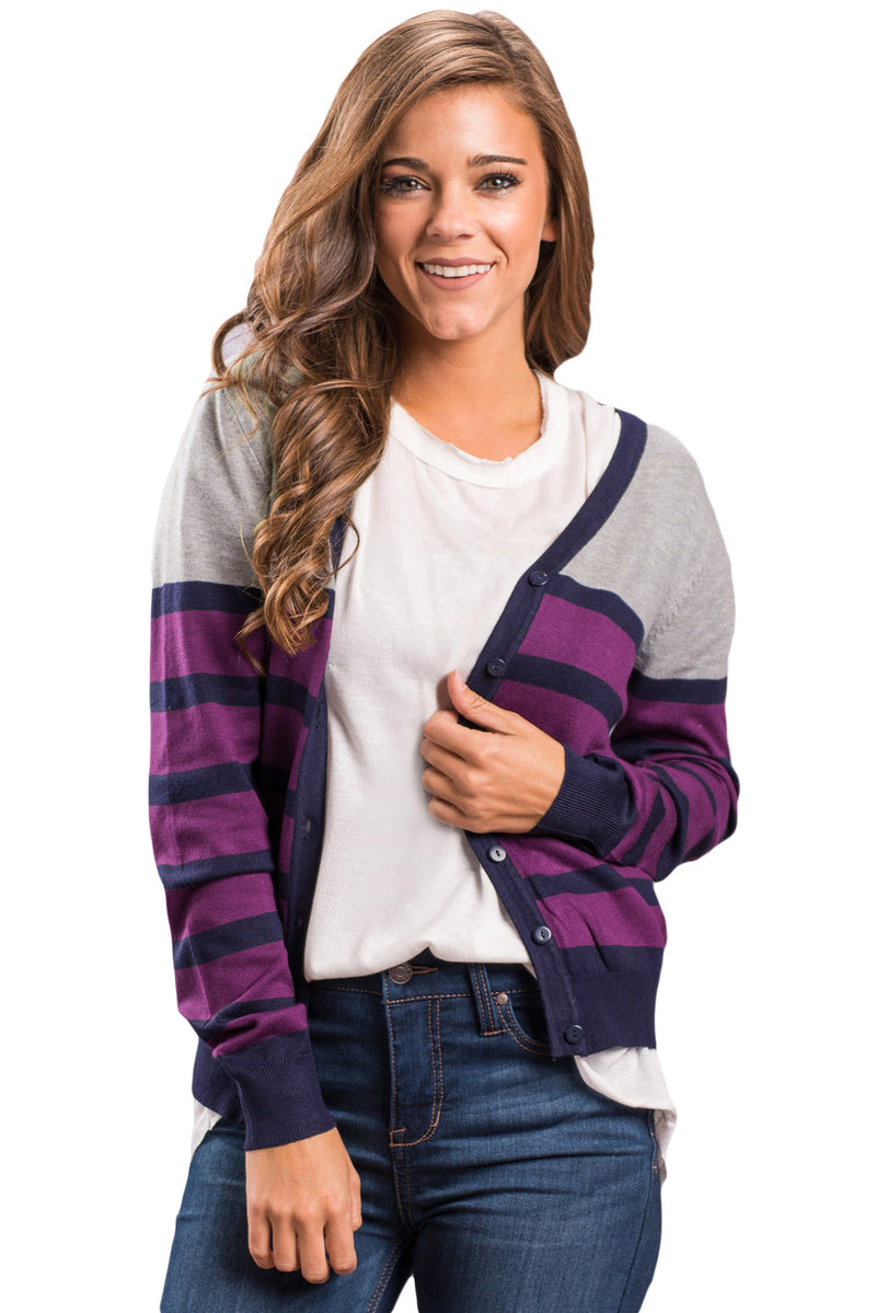 Plum Striped Grey Fuchsia Lightweight Knitted Cardigan