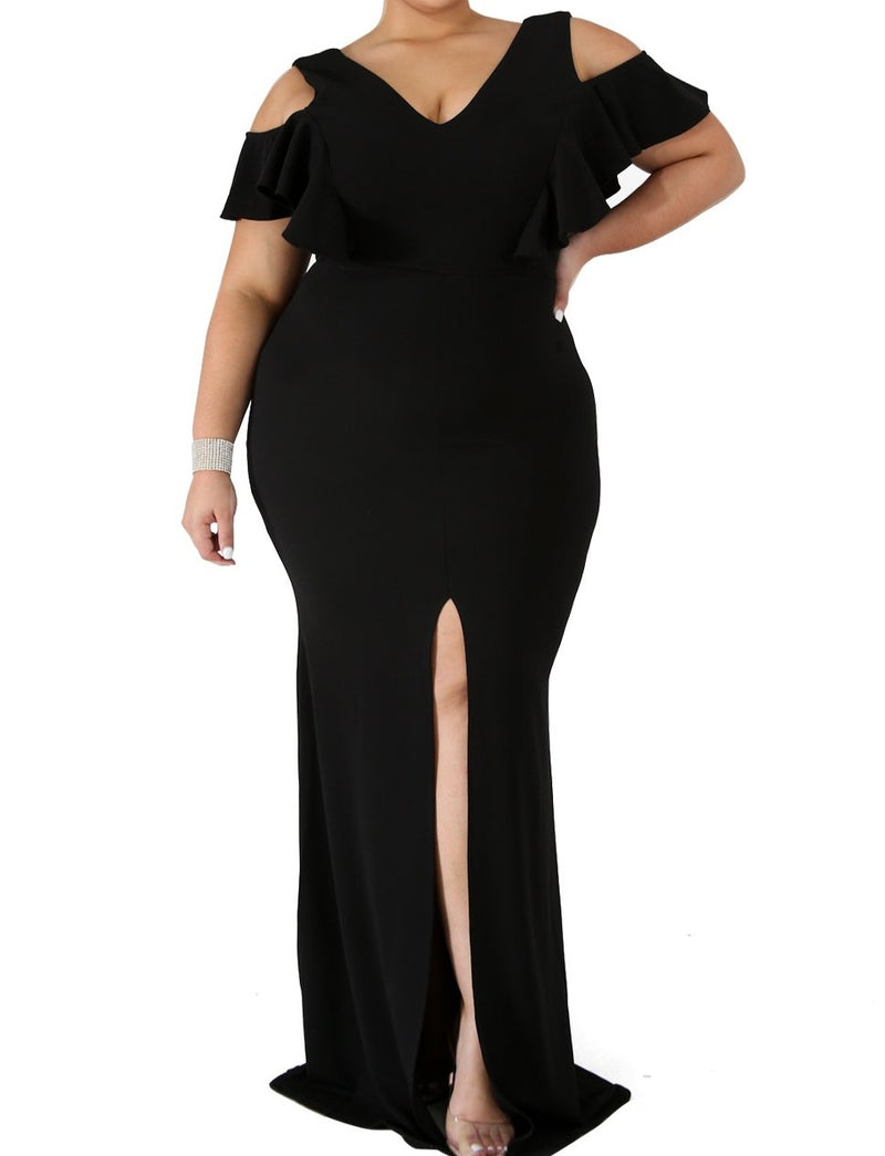 Black Plus Size Flamous Mermaid Dress