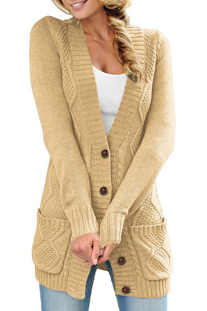 Beige Front Pocket and Buttons Closure Cardigan