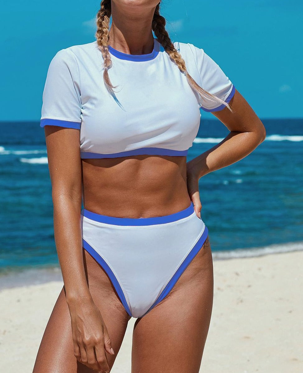 Sky Blue Two-piece Cropped T-shirt High Waist Swimwear
