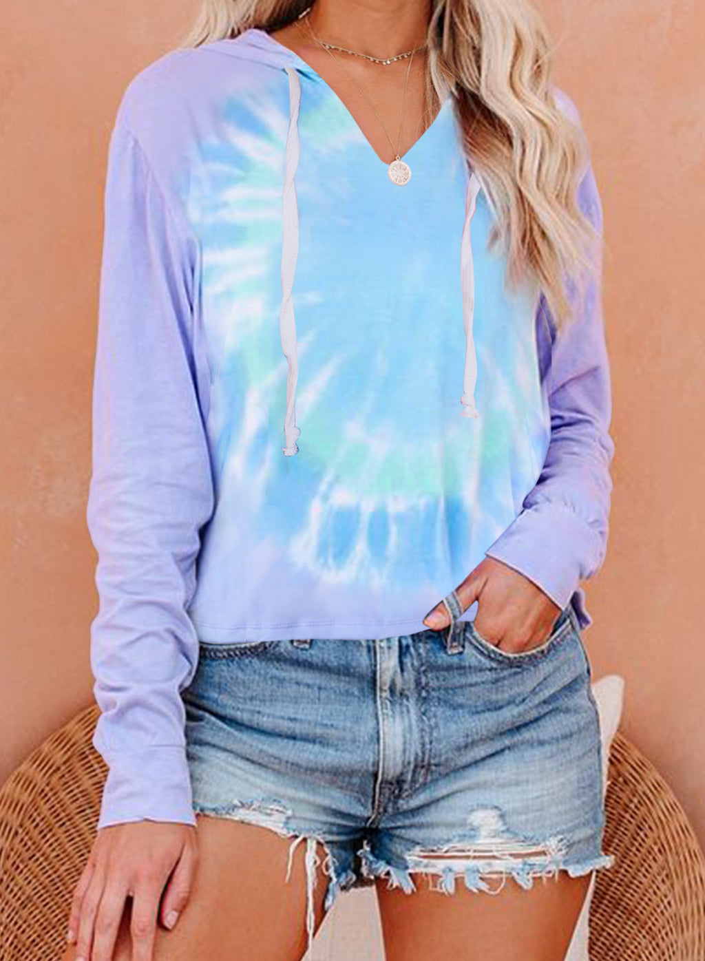 Purple Colorblock The Sun Cotton Blend Tie Dye Hoodie