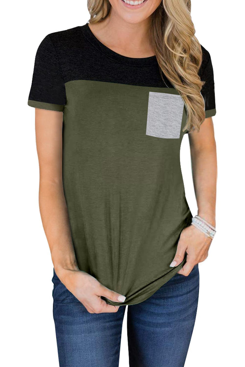 Green Color Block Pocketed T Shirt